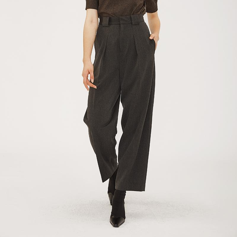 dark gray wide leg loose long women office wear lady pants OEM and ODM accepted-carrot trousers 2.11