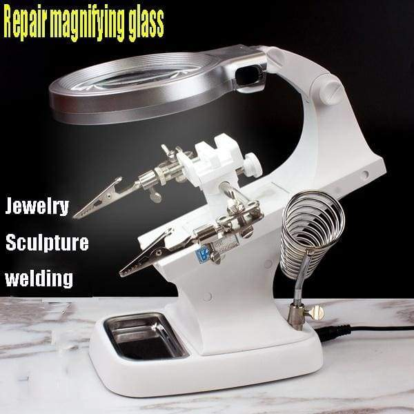 3 Hand Soldering Iron Stand Welding Tool With Illuminated Glasses LED Alligator Clip Holder Clamp Helping Hand Repair