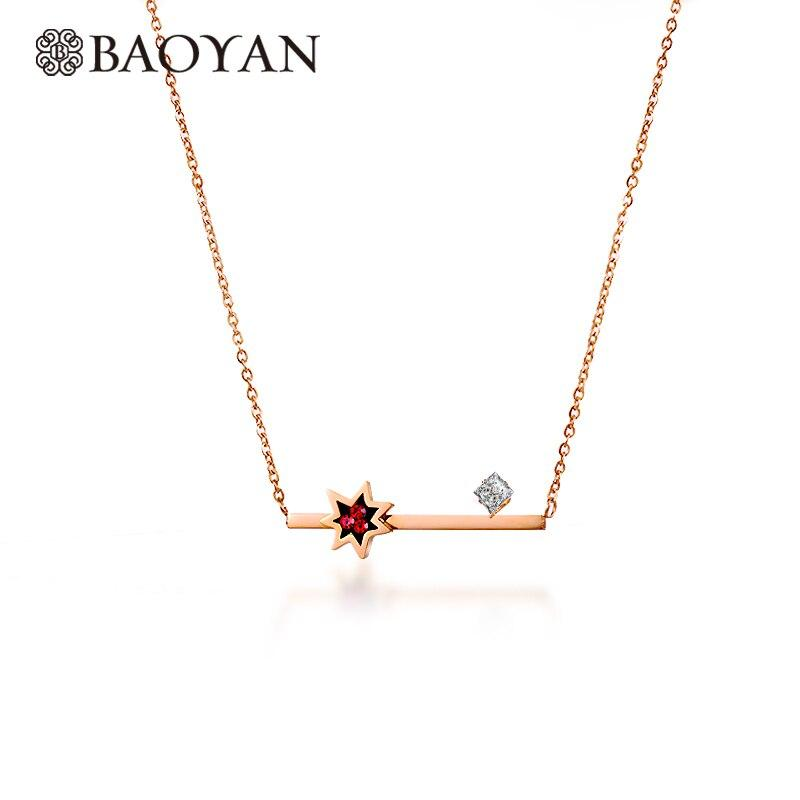 Simple Geometric Star Rose Silver Gold Color Red Crystal Zircon Fashion Stainless Steel Pendant Necklace for Female Presents
