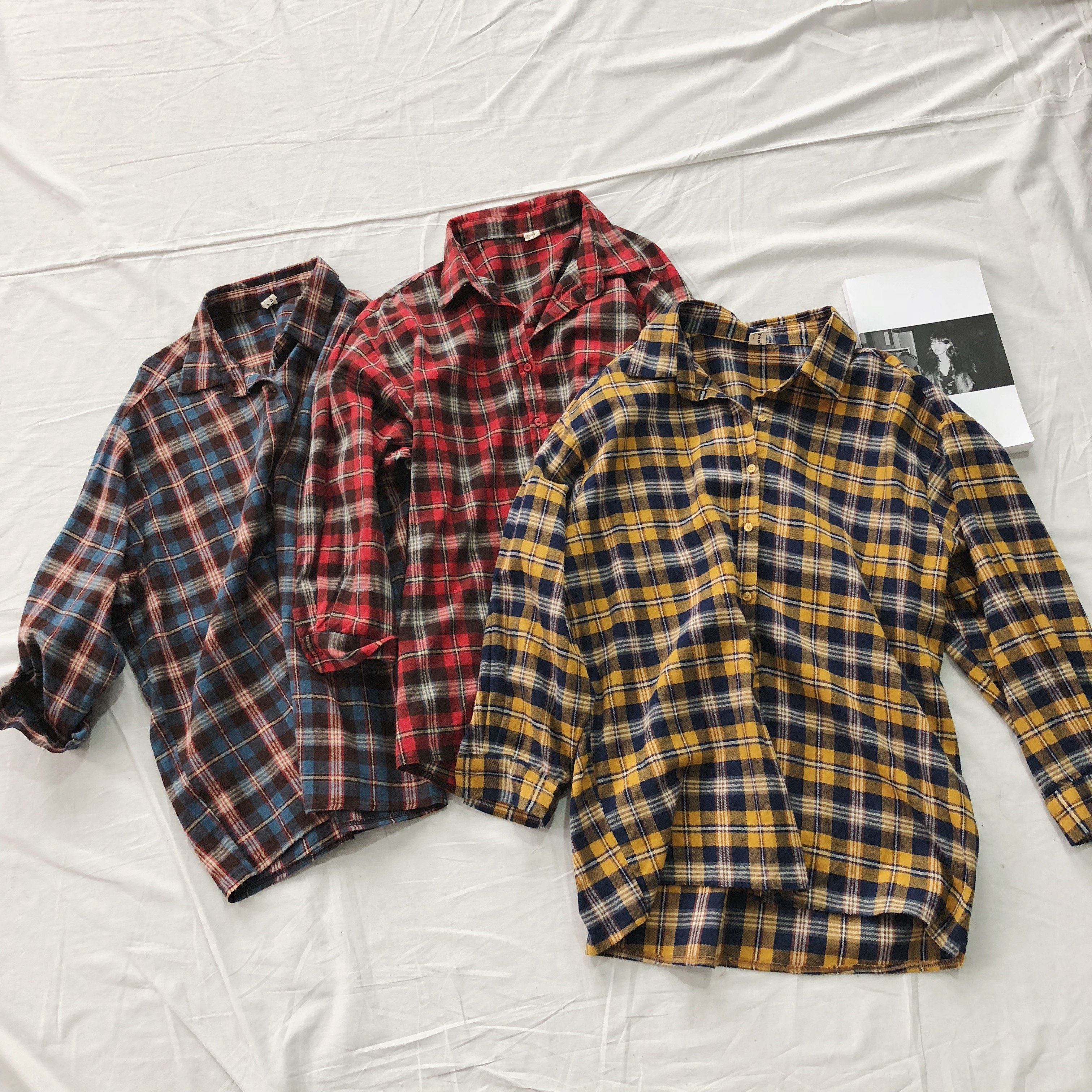 Retro Plaid Shirt Comfortable Brushed Long Sleeve Loose Wild College Shirt