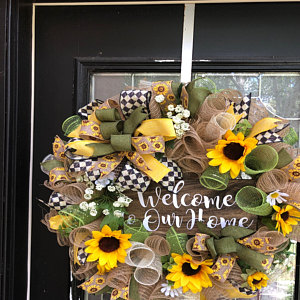 Fall wreath, Thanksgiving wreath, thankful and blessed wreath, sunflower wreath, fall welcome wreath, fall floral wreath, fall decor