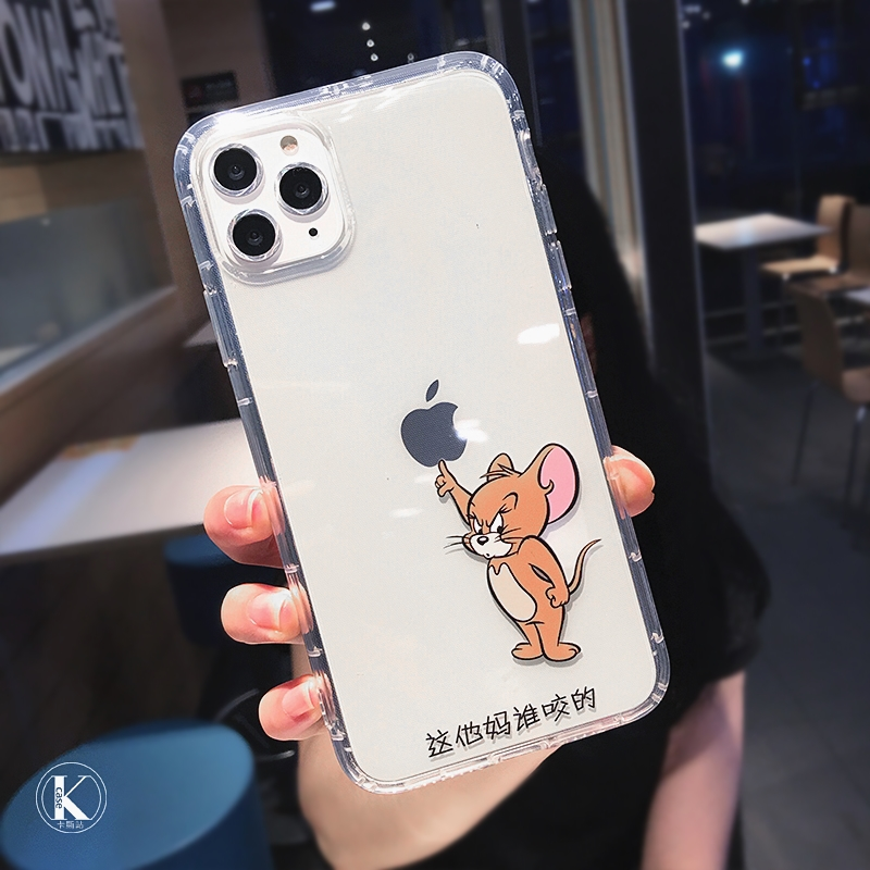 Cute Cartoon Cat Mouse Transparent Phone case For iPhone 11 Pro MAX X XS XR 7 8 plus 6 6S Funny Couple Soft TPU Shockproof Cover