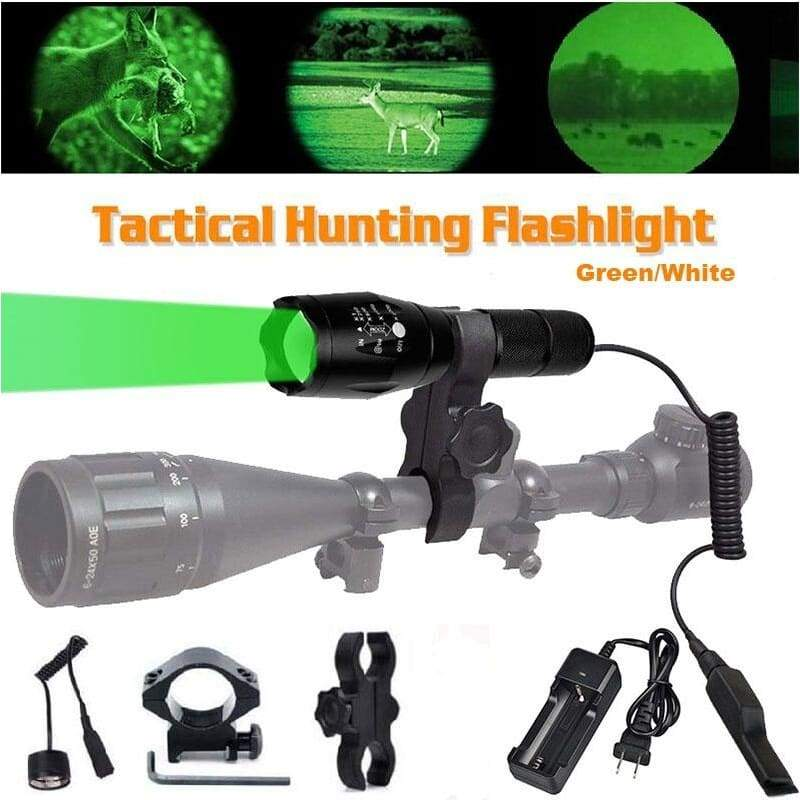 Zoomable Hunting Flashlight with Red/ Green /White Light LED Lamps Remote Pressure Switch Hunting Kit for Hog Coyote and Varmint Hunting