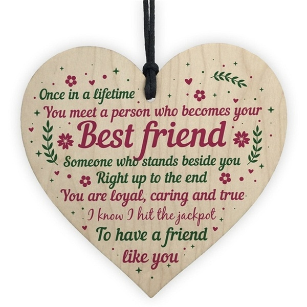 New Style Fashion Wooden heart-shaped friendship plaque sign chic crafts pendant gift to friends birthday Christmas Thanksgiving Easter gift