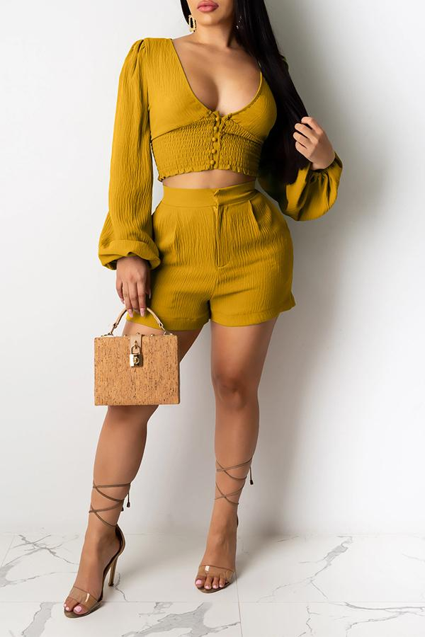 Solid Color V-neck Puff Sleeve Two-piece Suit