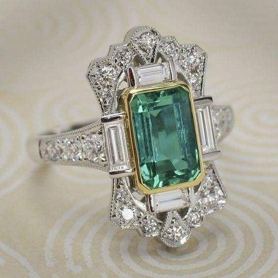 Vintage 925 Sterling Silver Emerald Ring Natural Gemstone Ring Wedding Engagement High Jewelry