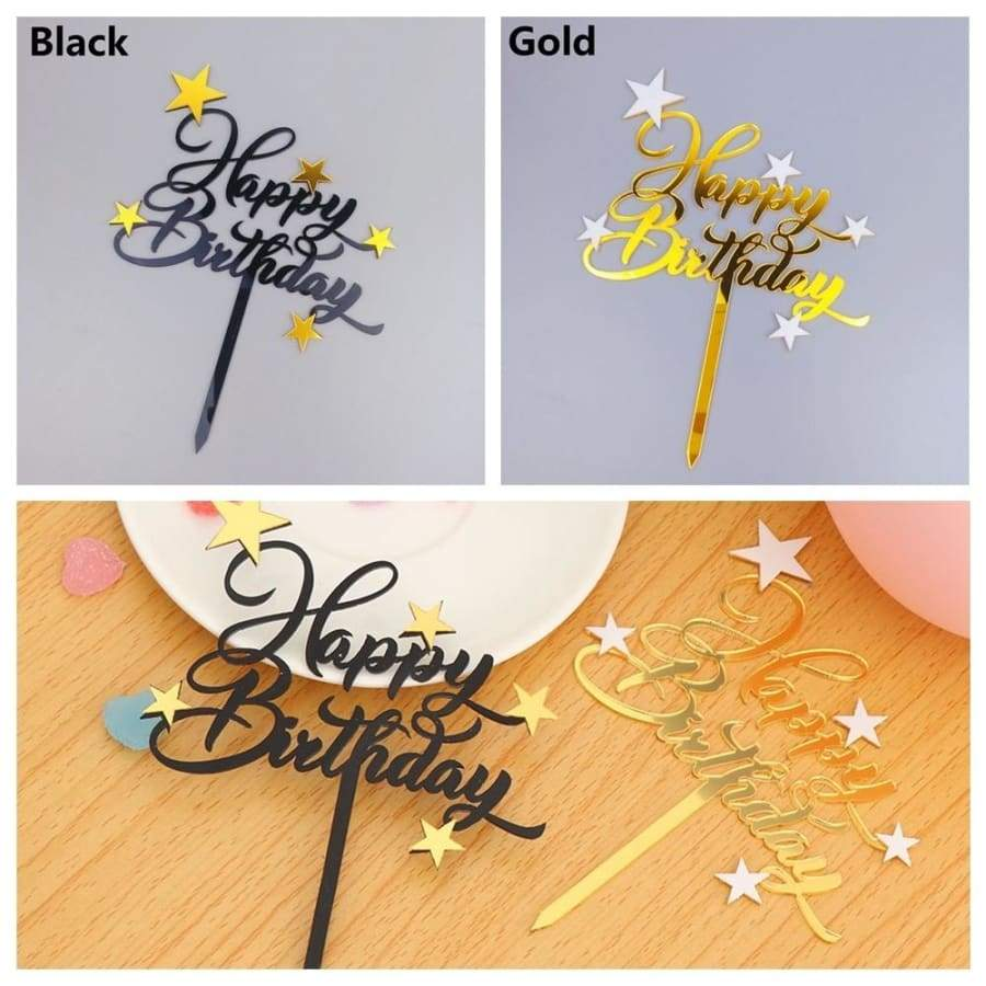 1PC Acrylic 'Happy Birthday' Insert Cake Topper Party Decor Supplies Baby Shower Baking Cake Topper