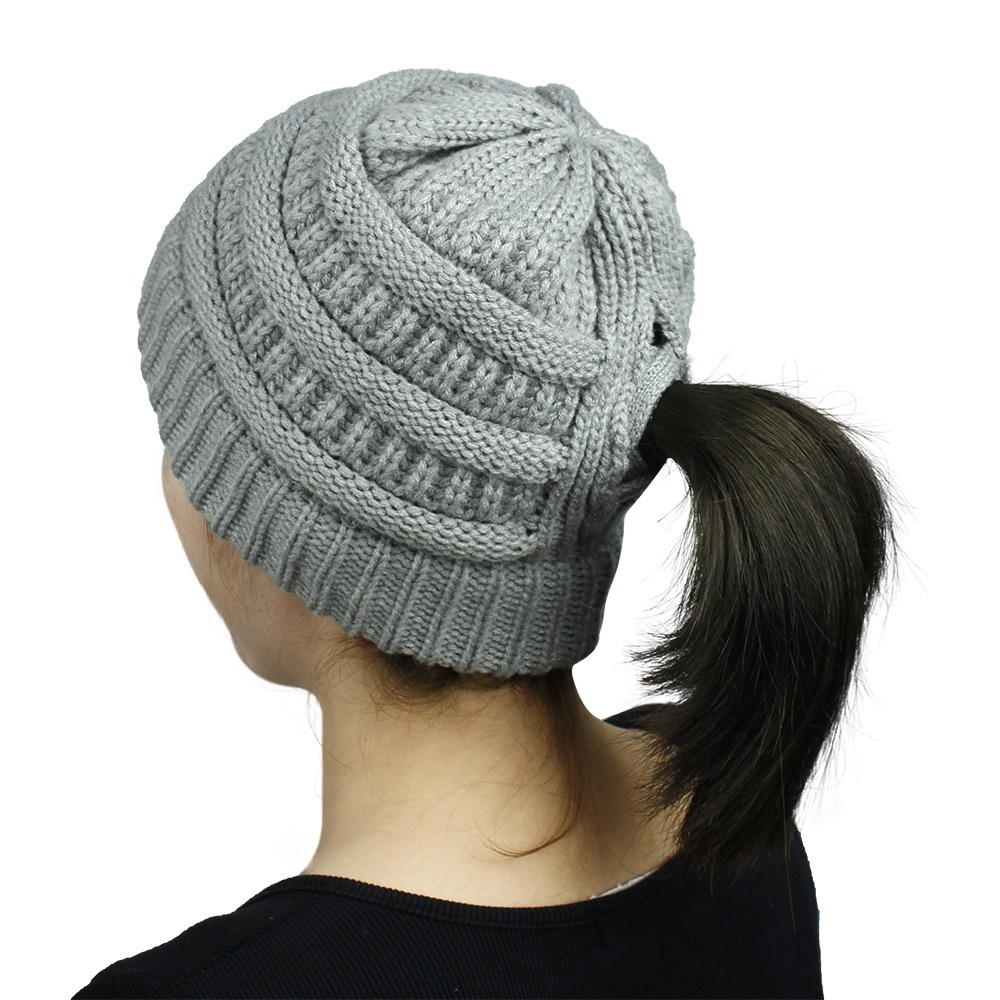 Winter and Autumn Women Skullies Female Cap Sports Style Acrylic Knitting Keep Warm Outdoor Run Cross Ponytail