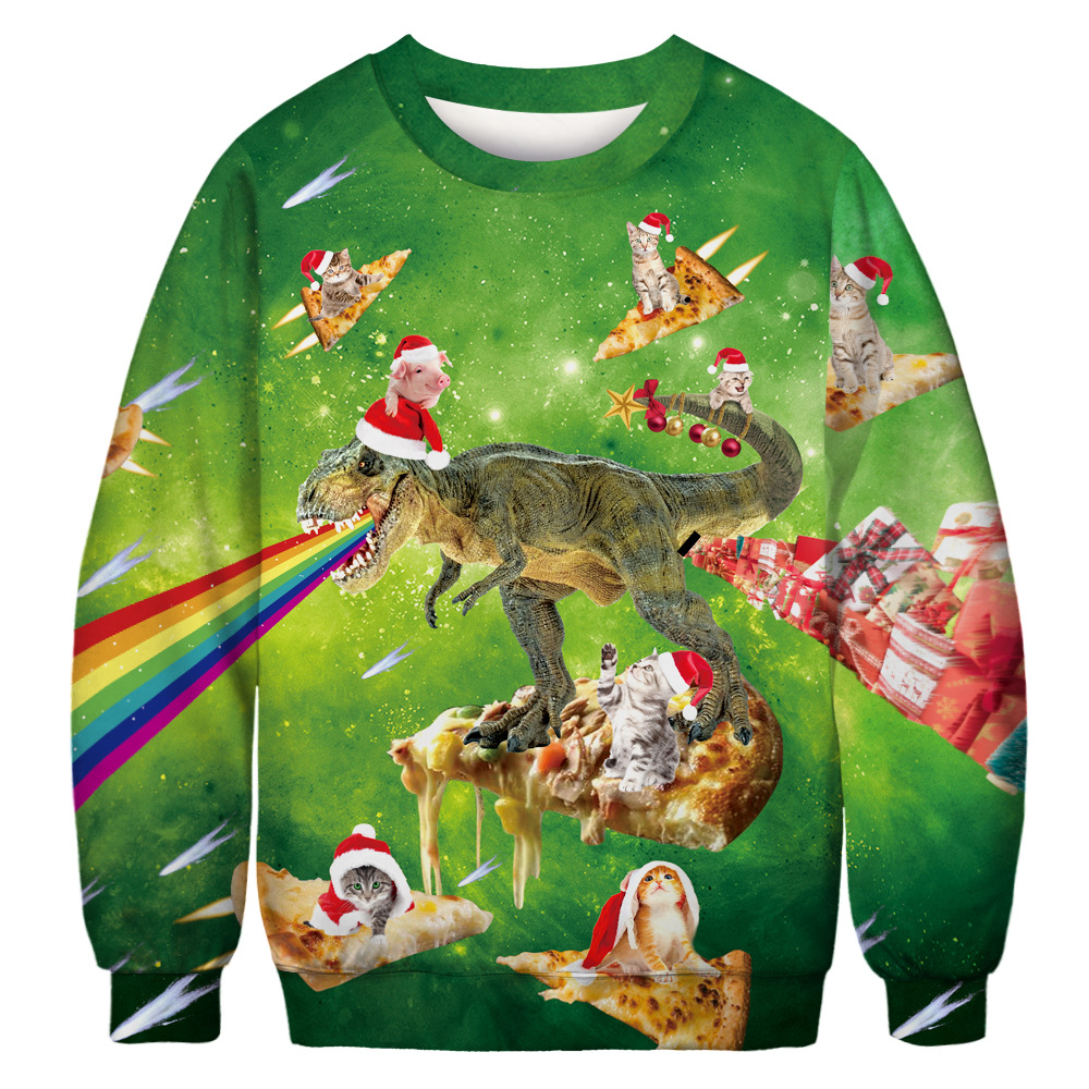 10 Ugly Christmas Sweatshirt Novelty 3D Graphic, Adult Neutral