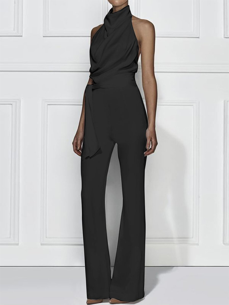 Simple Stand Collar Jumpsuit