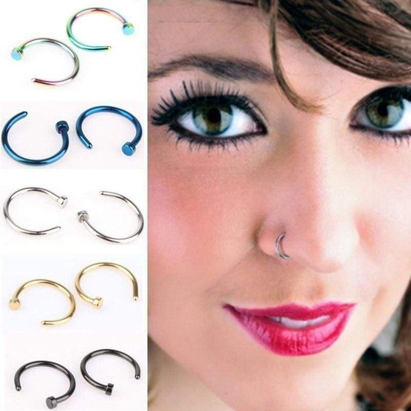5pcs Bag Women Fashion Fake Titanium Nose Ring Lip Piercing Nose