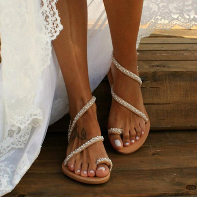 Boho Handmade Pearl Beach Sandals Bridal For Women