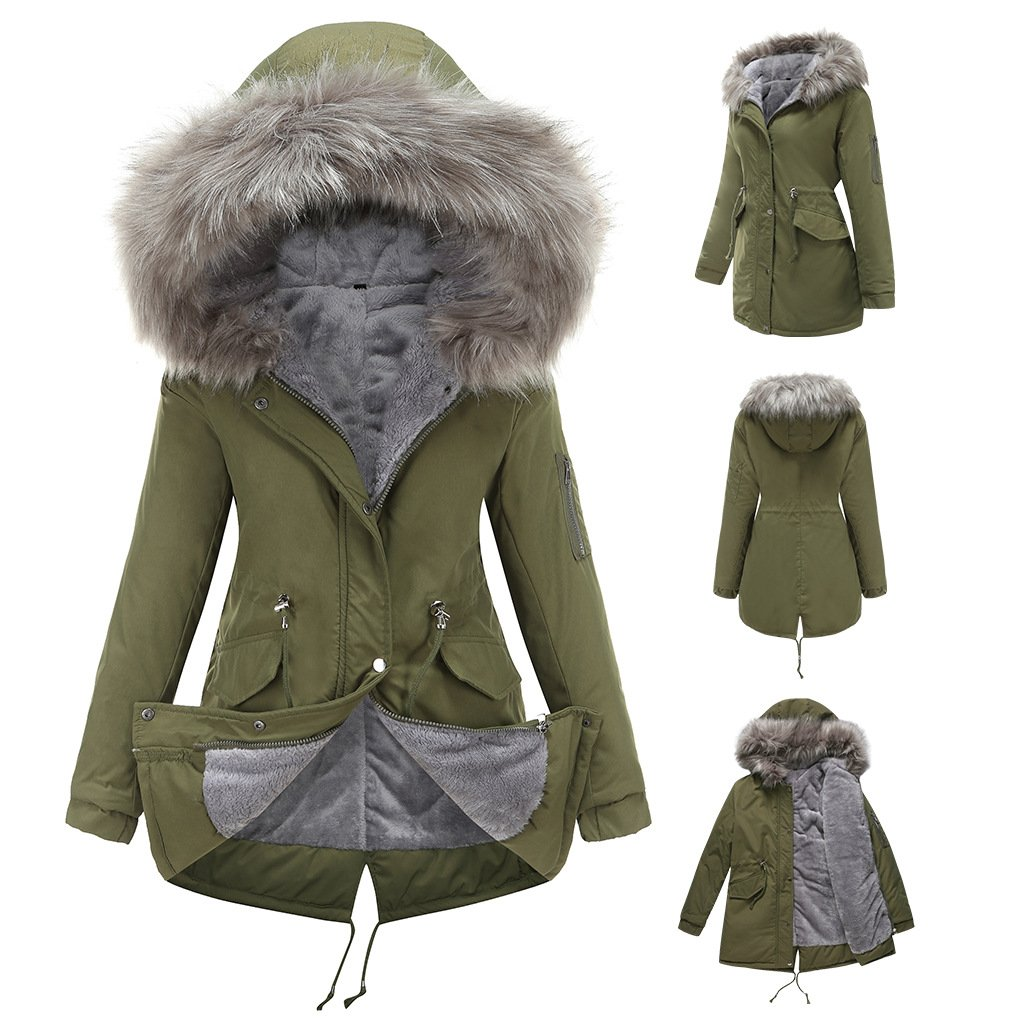 Women's fur collar cotton hooded overcoat winter warm coat with pocket