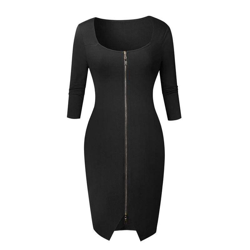 Sexy Club Cocktail Dress Women Autumn Winter Zipper Slim Sexy Bodycon Package Hip Dress