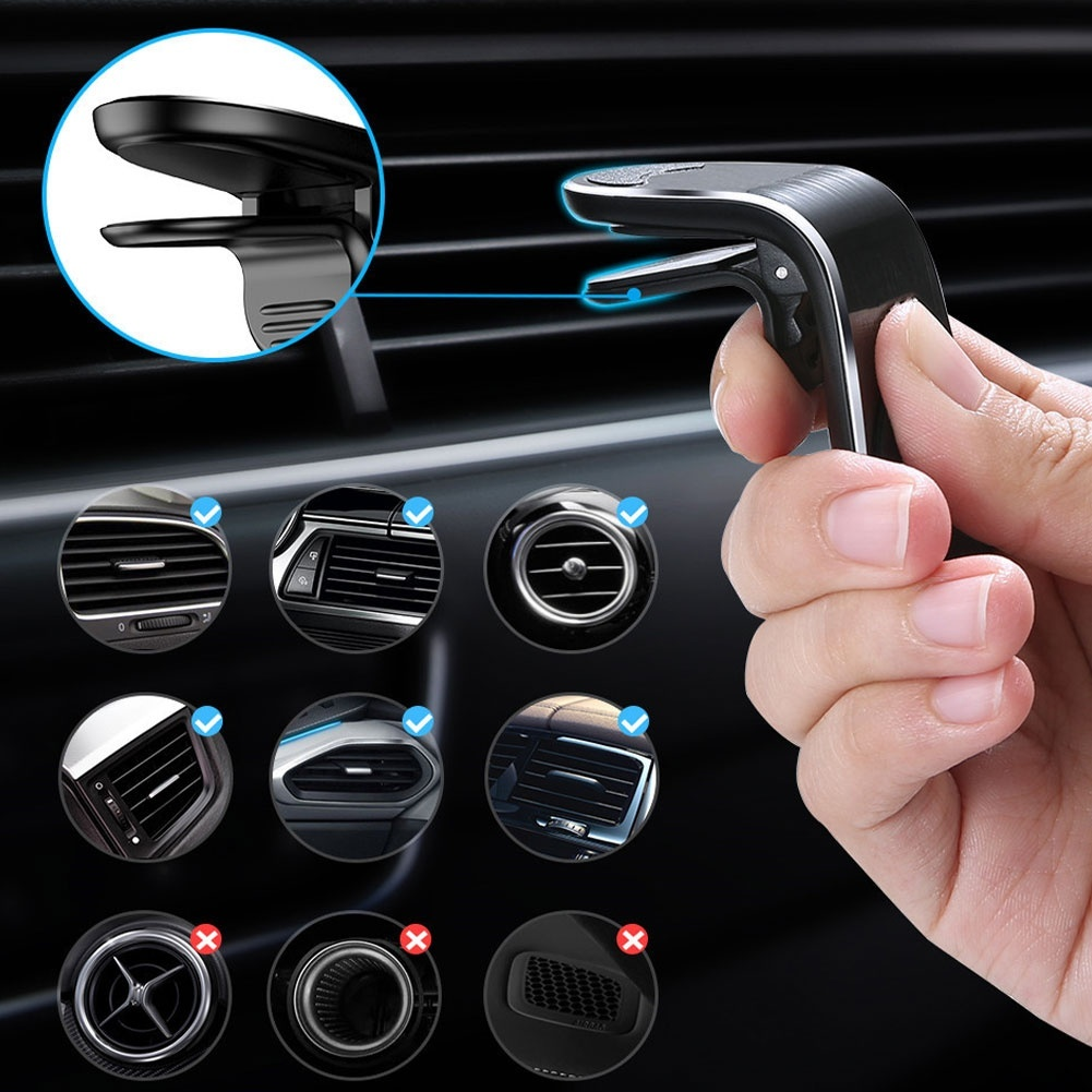 Magnetic Car Phone Holder Stand in Air Vent Bracket Clip Free Angle Car Phone Holder for iPhone Samsung Huawei