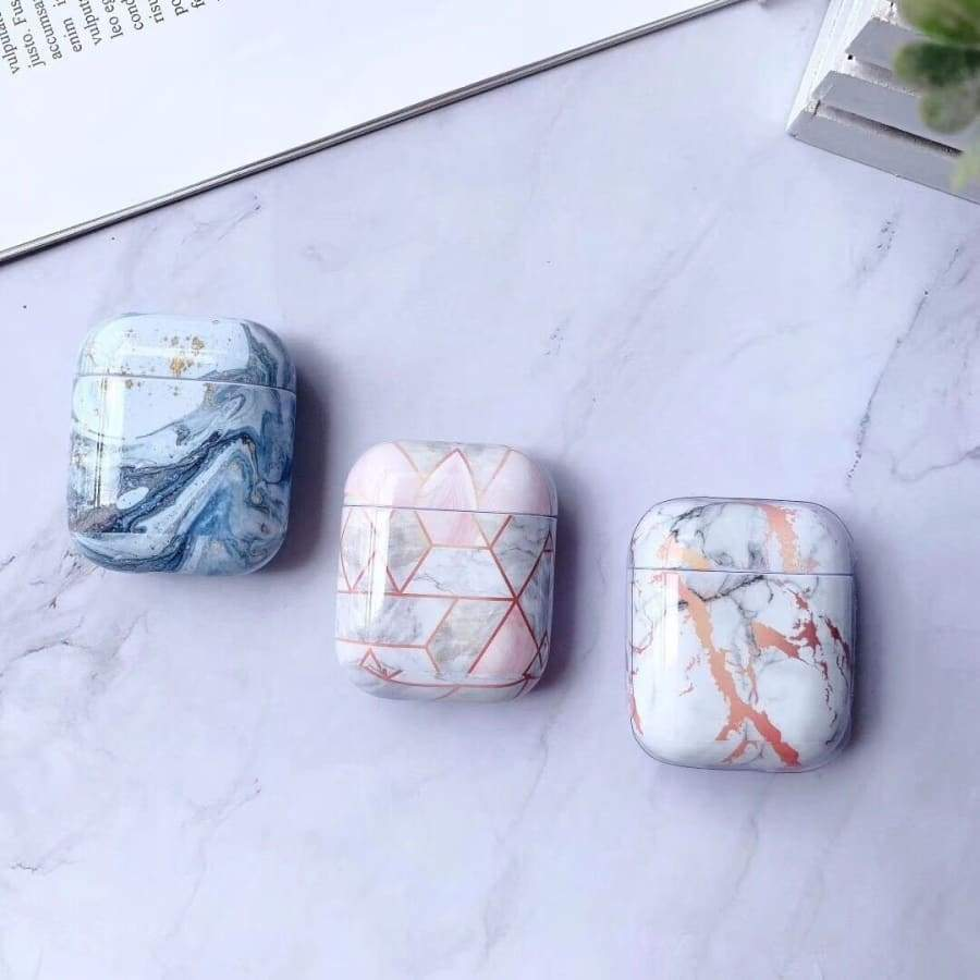 New Luxury Marble Gold-stamping Design Triangle Pattern Hard PC Case Protectiver Cover for Apple Airpods