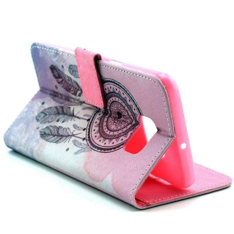 Pink Dreamcatcher Foundation Pattern Flip Leather Wallet Holster Cards Stand Mobile Phone Case Cover For Apple iPhone For Samsung Galaxy For Huawei For Sony For Motorola