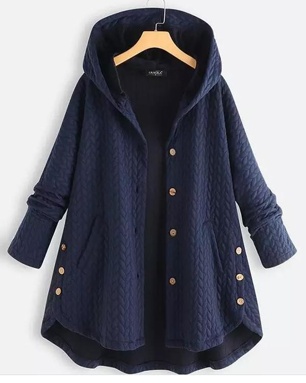 Casual Jacquard Pockets High Low Hooded Coat