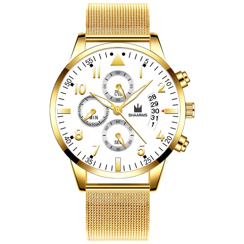 Classic Gold Watches Men's Fashion Luxury Mesh Belt Ultra Thin Watches  Faux Chronograph Business Casual Stainless Steel Analog Quartz Wrist Watch Herren Uhren Gifts for Men