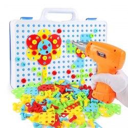Educational Assembled Building Blocks Electric Drill Toy for Kids - Multi-a