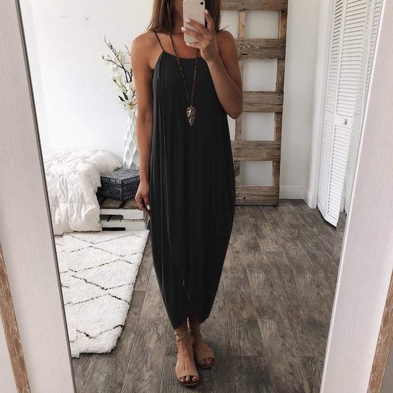 4 Color Fashion Women Dress Summer Loose Straps Elegant Holiday Casual Wear Wedding Party Clothes Long Skirt