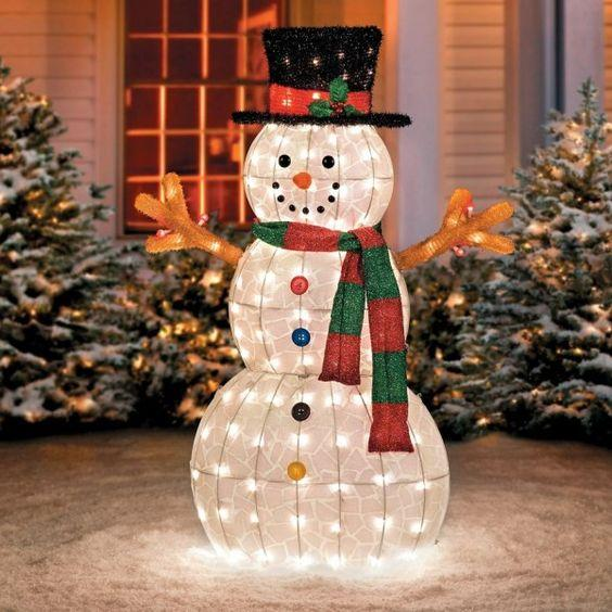 NOMA 5 Ft. Pre-Lit LED Light Up Snowman with Top Hat | Outdoor Christmas Lawn Decoration
