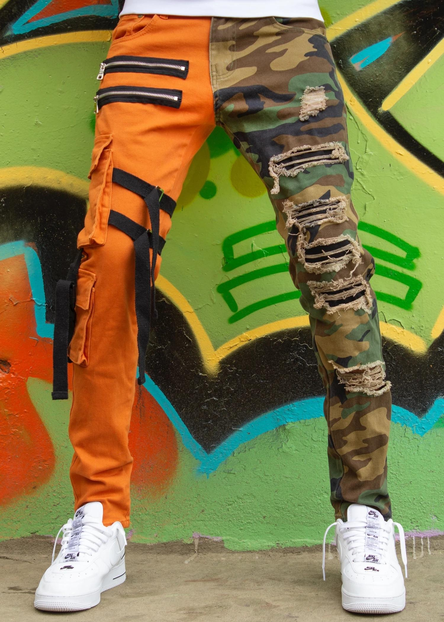 Locked and loaded jeans strap and stone camouflage and orange