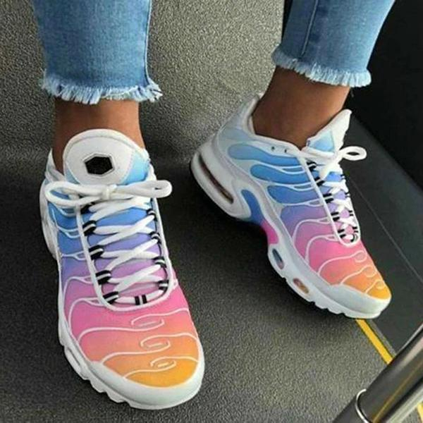 Faddishshoes Lace-Up Low-Cut Upper Round Toe Gradient Sneakers
