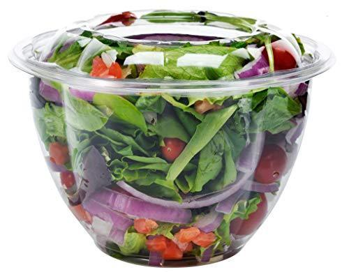 DOBI [50 Pack - 48 oz.] Salad Bowls with Airtight Lids - Large Clear Plastic Dis