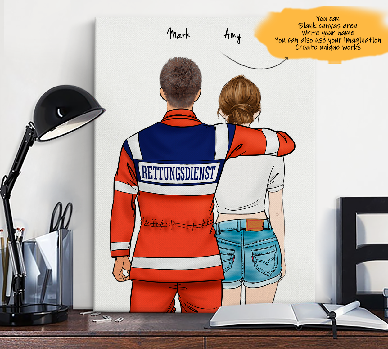 He is My Friend! Hand Draw Custom Canvas-Print Gift AmbulanceDriverGermany-Tan&CowboyGirl