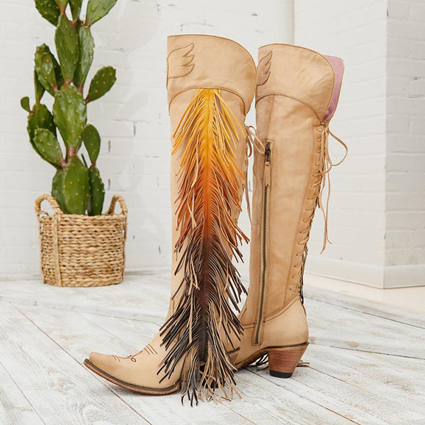 Faddishshoes Embroidered Colorful Tassel Over Knee Boots