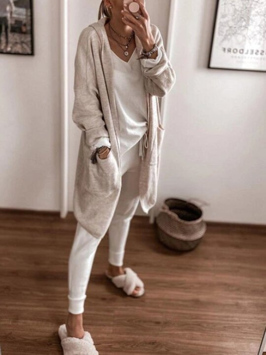 Simple V-neck Long-sleeved T-shirt and Drawstring Sweatpants Suit