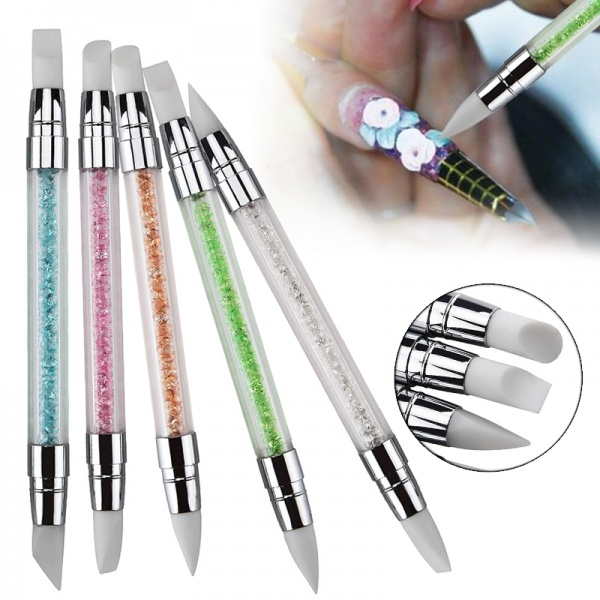 2 Way Manicure Nail Art Silicone Brush Carving Sculpture Pen Rhinestone Handle