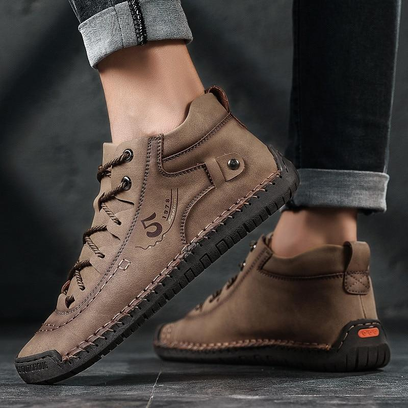 Men's fashion fur lining winter boots lace-up short boots