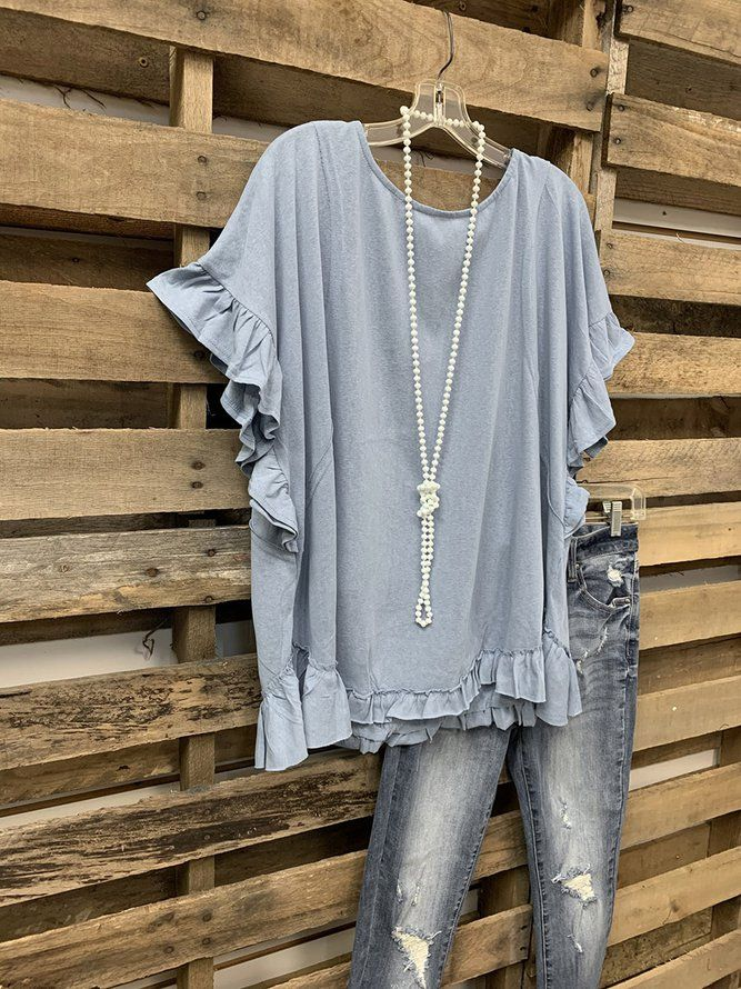 Sweet Top With Lotus Leaf Cuffs   Tops   Mondadays Short Sleeve 1 Blue White Yellow Women Tops Polyester Crew Neck Simple Ruffled Daily Tops   mondadays