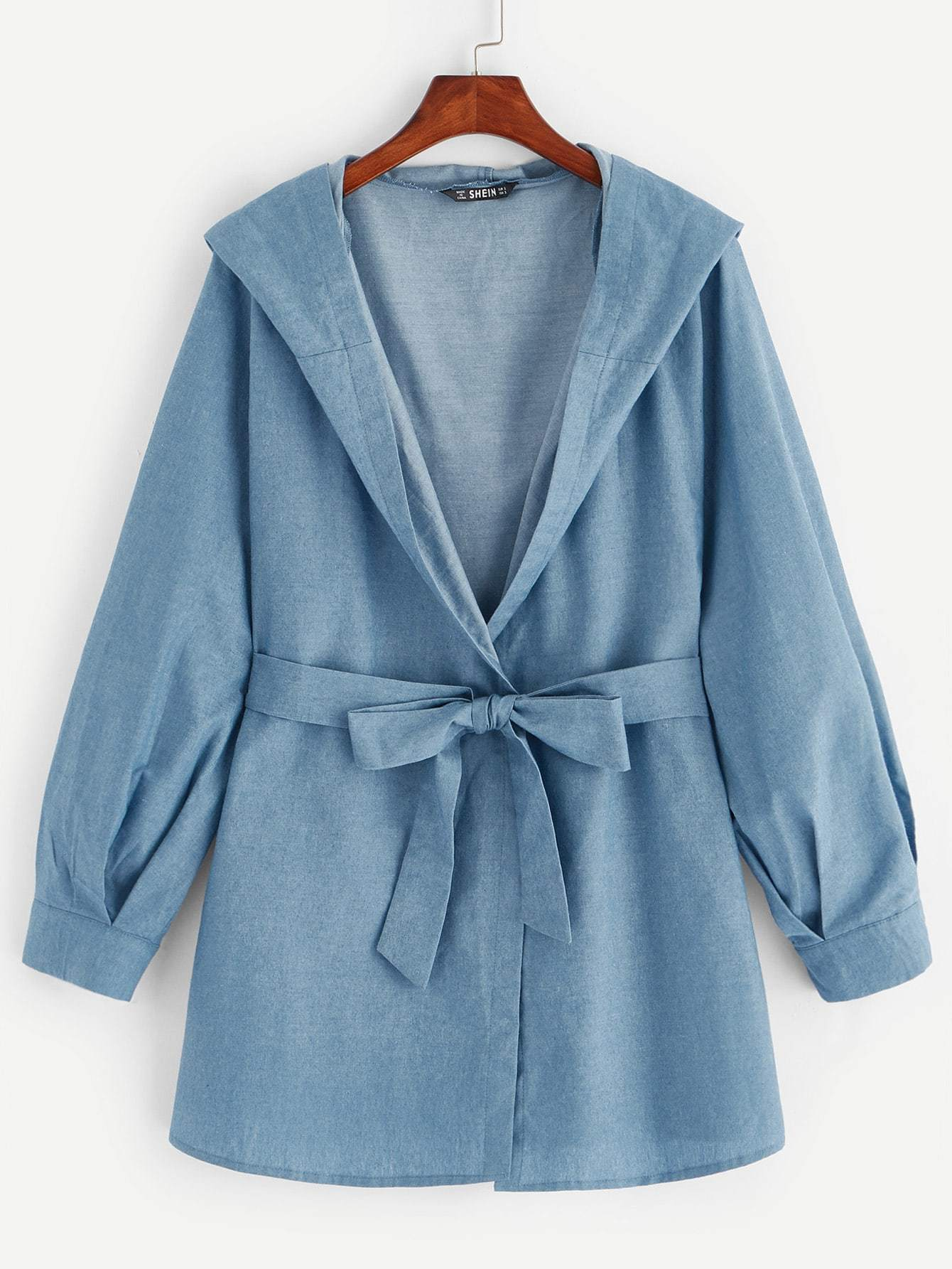 SHEINWaist Belted Pleated Hoodie Outer