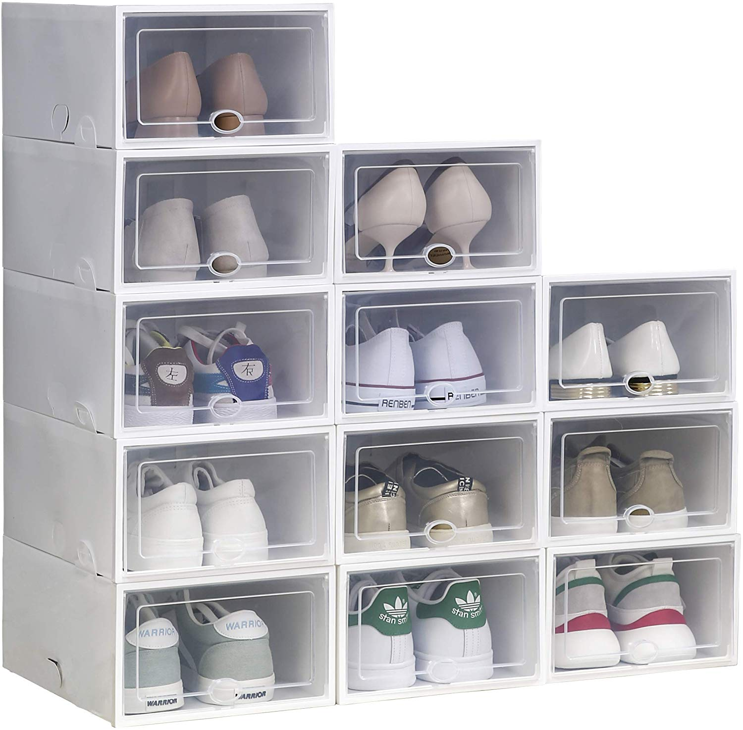 Shoe Box Storage White 5 Pack Clear Plastic Stackable