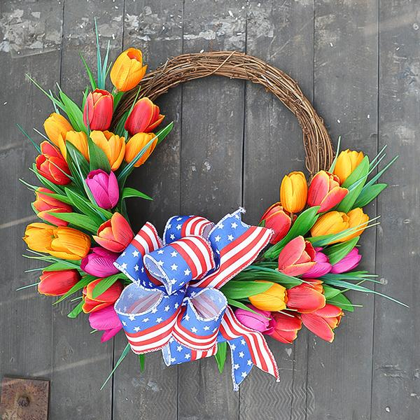 American Independence Day Tulip Wreath