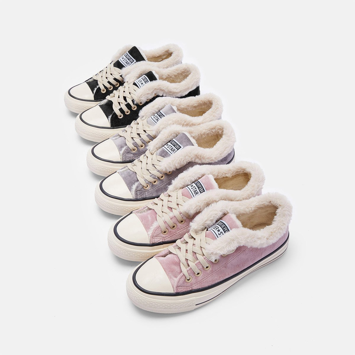 Womens Canvas Snow Sneakers Fur Lined Shoes