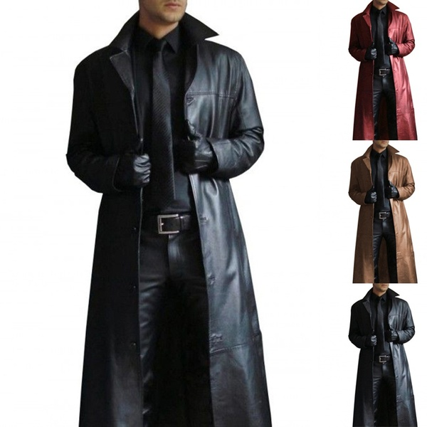 Men Winter Fashion Long Trench Coat Plus Size Turn Neck Solid Long Leather Coat Casual Cool Men Warm Jackets