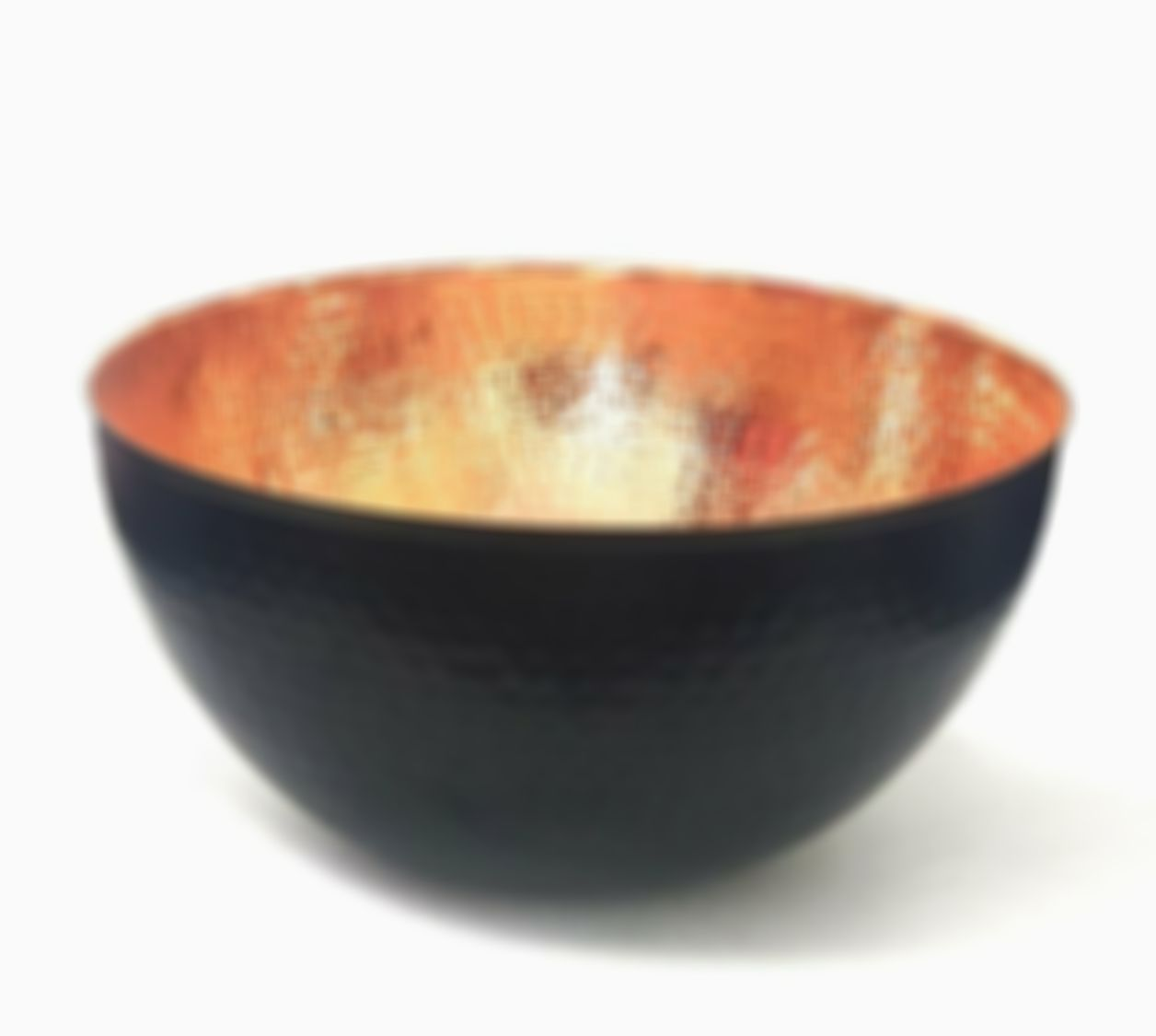 Copper and Black Hammered Mixing Bowl, 100% Pure Heavy 7 (7.6 inch, Black Bowl)