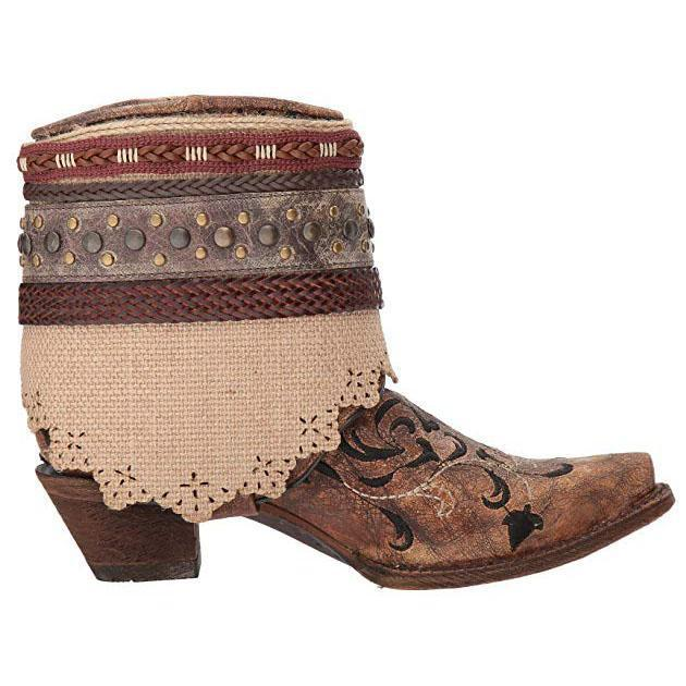 Woven Pattern Stitching Vintage Rivet Ankle Boots