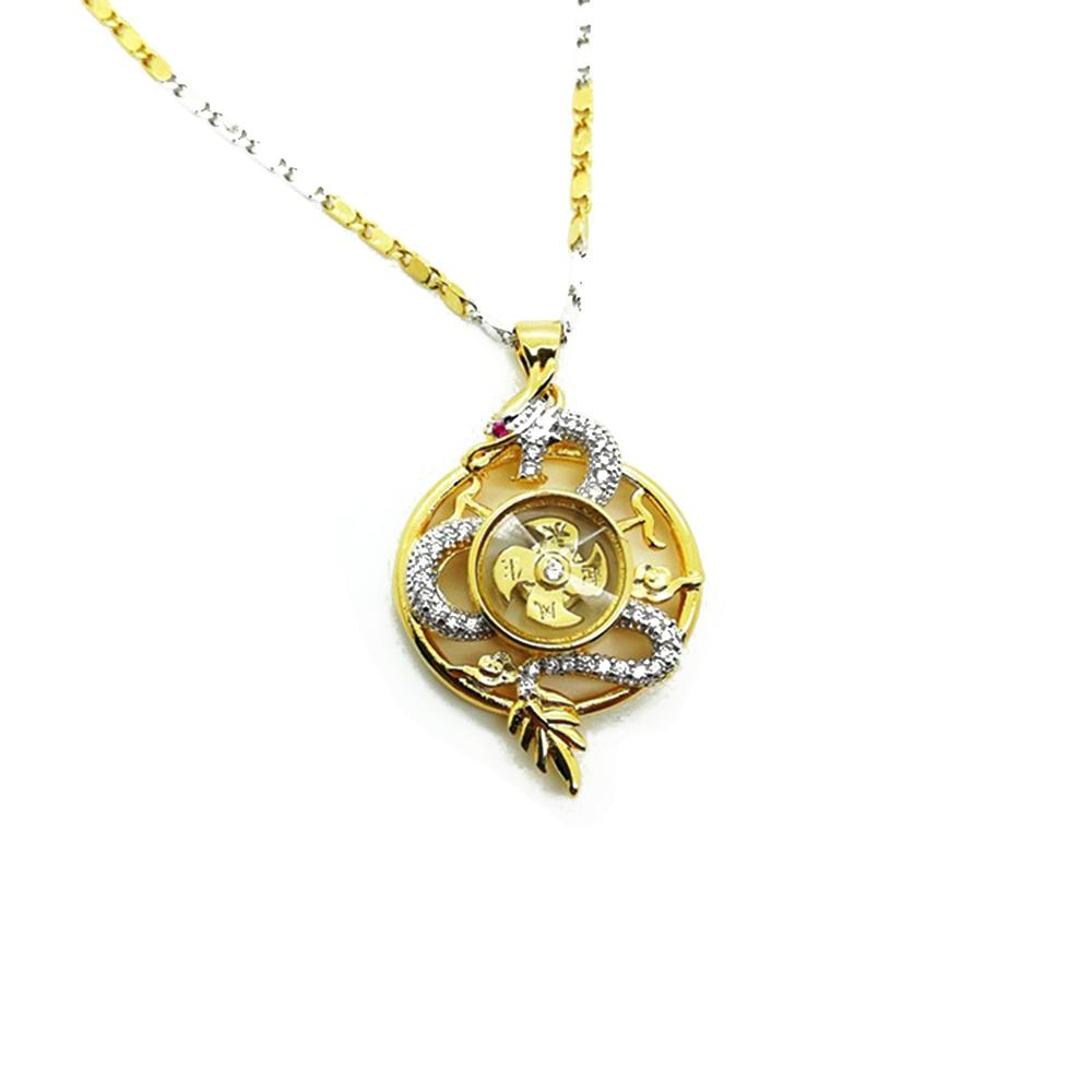 Gold Rotating Windmill Energy with Dragon Feng Shui Lucky Necklace