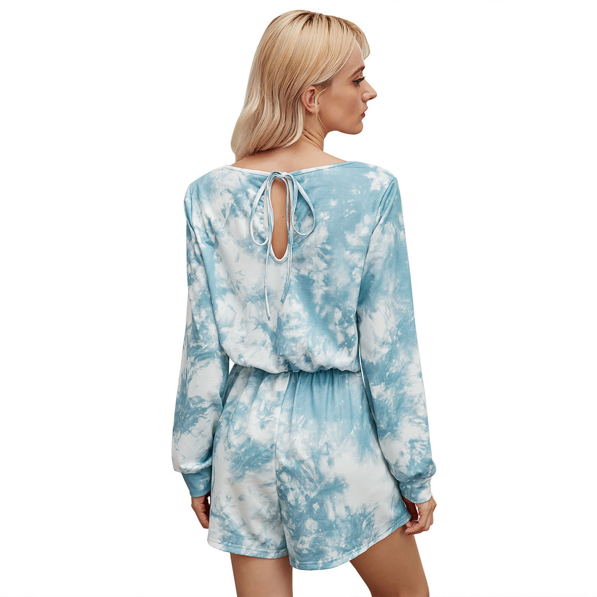 2-piece tie-dye long-sleeved top +  shorts loungewear