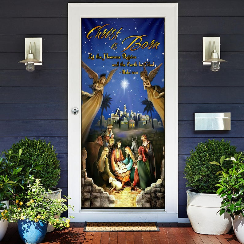 Christ is Born Door Cover , Home Decoration