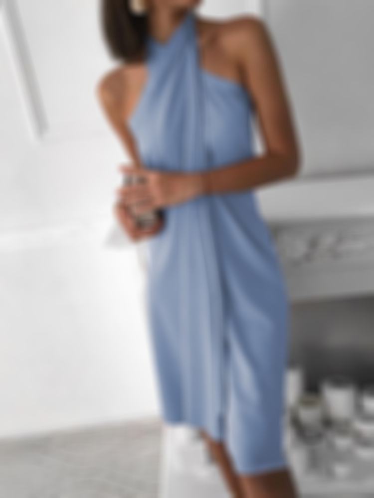 Halter Neck Wrapped Dress-14 colors available
