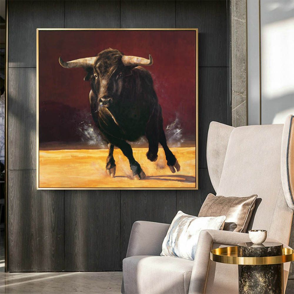 Hand painted large cow animal abstract oil painting art living room abstract animal oil painting
