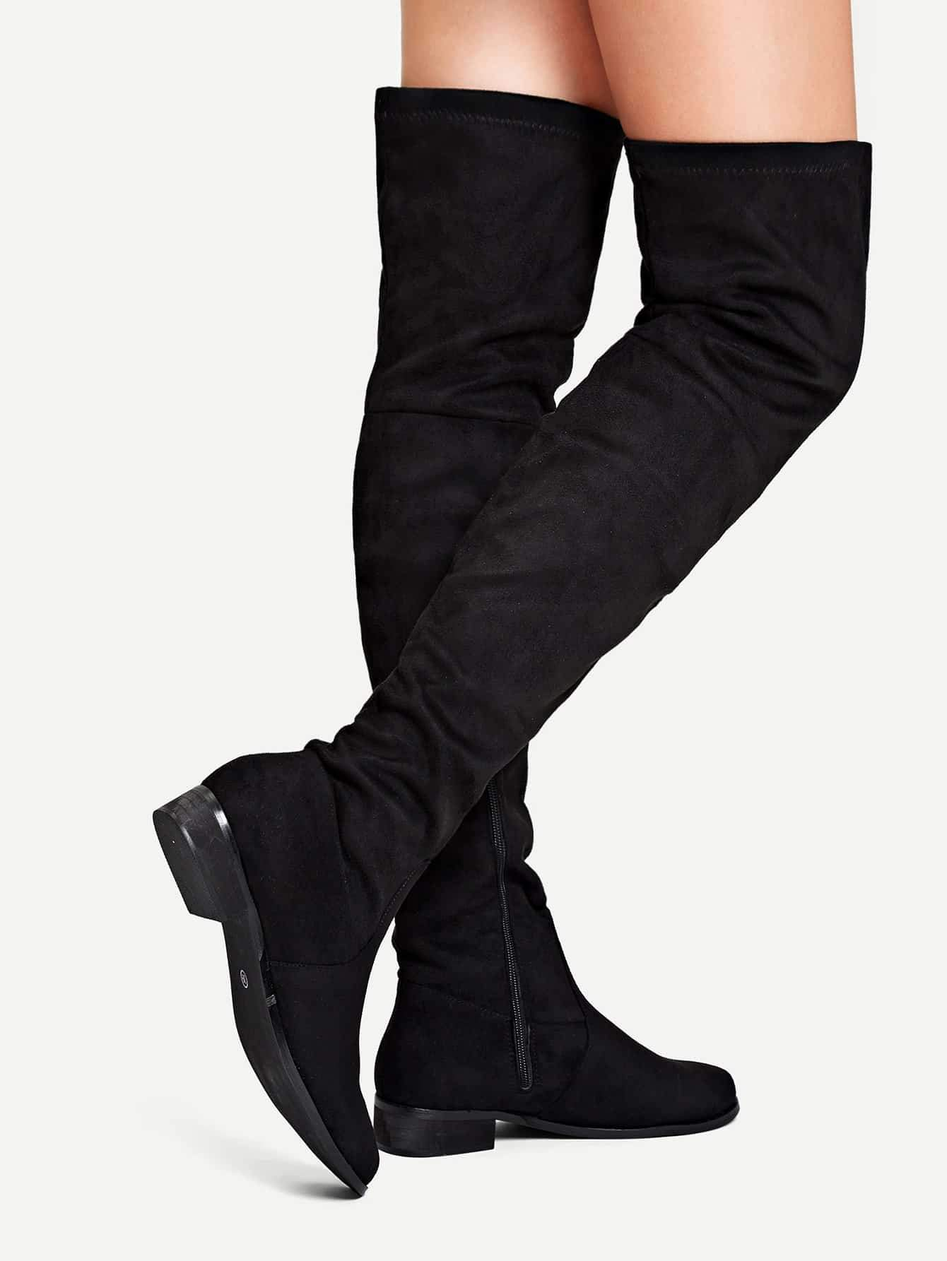 Side Zip Thigh High Boots