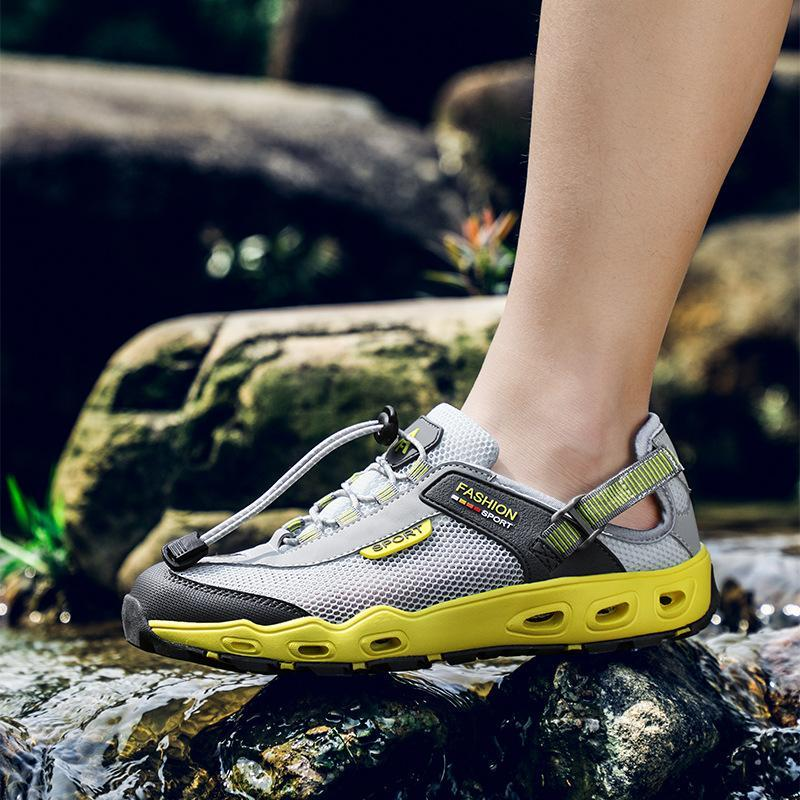 Men Mesh Outdoor Hiking Slip Resistant Lace Up Upstream Water Shoes