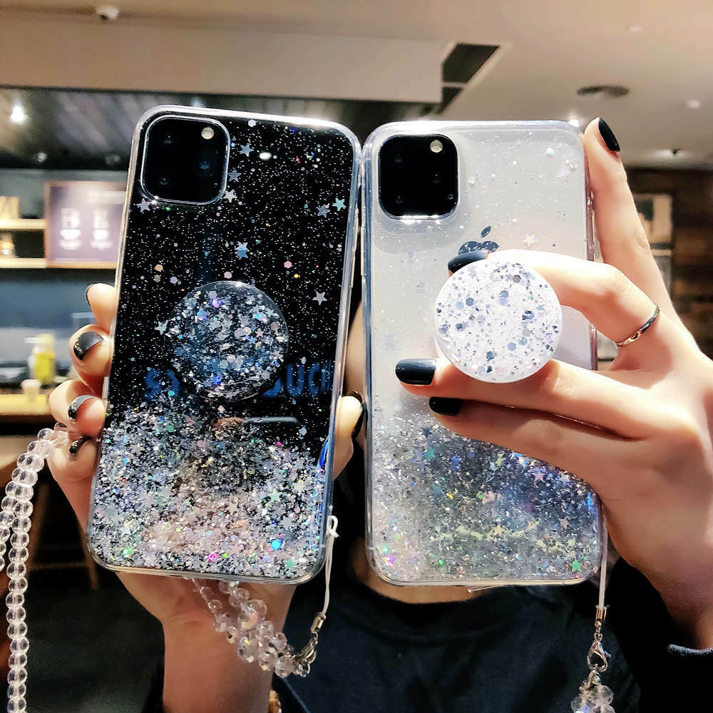 Bling Glitter Case For iPhone Case With Stand Holder Phone Cases Socket